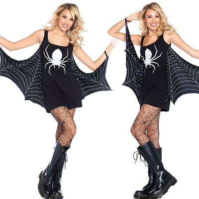 Spiderweb Costume Black/White Spider Print Jersey Mini Tank Dress w/ Cape S-3XL](Spider Dress Costume)