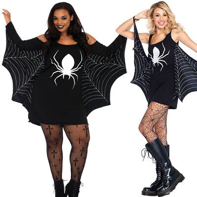 Black/White Digital Print Spider Web Cape Witch Dress Halloween Costume S-3XL US (Spider Web Witch Costume)