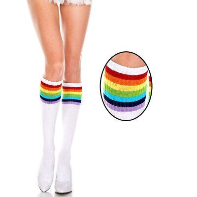 Opaque White Rainbow Striped Under Knee High Socks Stockings Pride Brite Costume