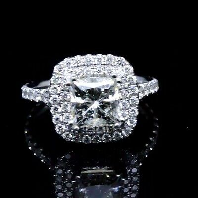 2.09 Ct Princess Cut Diamond Double Halo Split Shank Engagement Ring  E,VVS2 GIA