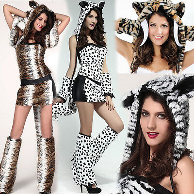 Womens Sexy Halloween Animal Striped Spots Costumes Furry Big Tail Cosplay Dress - Furry Animal Halloween Costumes