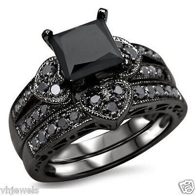 2.16 Ct Black Diamond Bridal Set Black 925 Silver Wedding Ring Online Jewelry$$$
