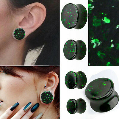 Pair Green Glitter Sand Stone Saddle Fit Gauge Double Flared Ear Plugs 6G-13/16