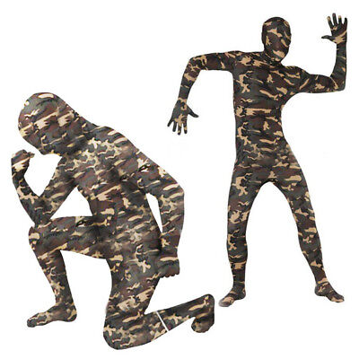 Full Body Camouflage Lycra Zentai Suit Camo Bodysuit Halloween Costume XXS-XS US