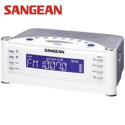 Atomic Alarm Clock Radio Sangean White Digital Tuner LCD Display FM Aux RCR22