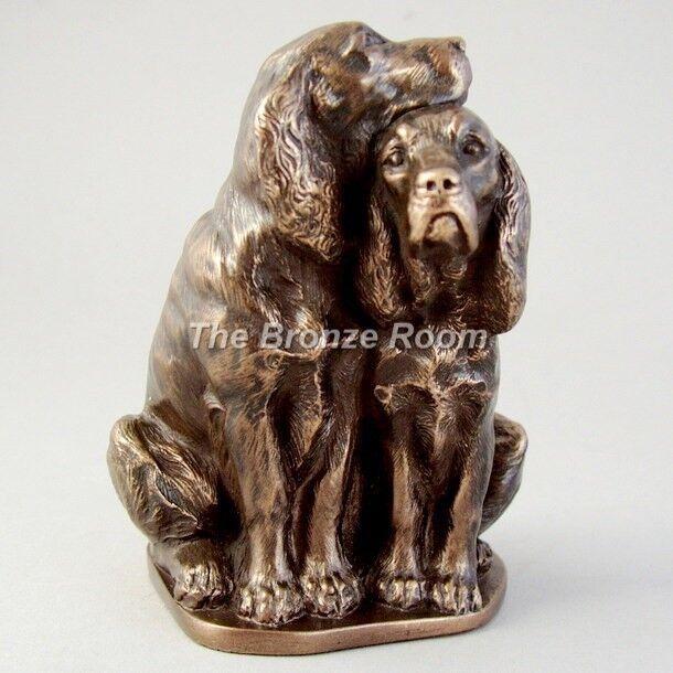 Spaniel Pair - Bronze Sculpture Ornament Figurine