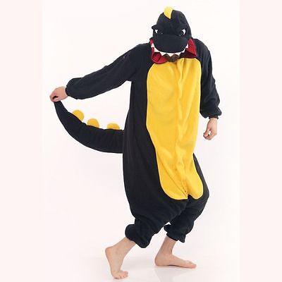 Black Dinosaur Kigurumi Anime Cosplay Pyjamas Costume Hoodies Adult Onesie18  UK (Adult Onesie Dinosaur)