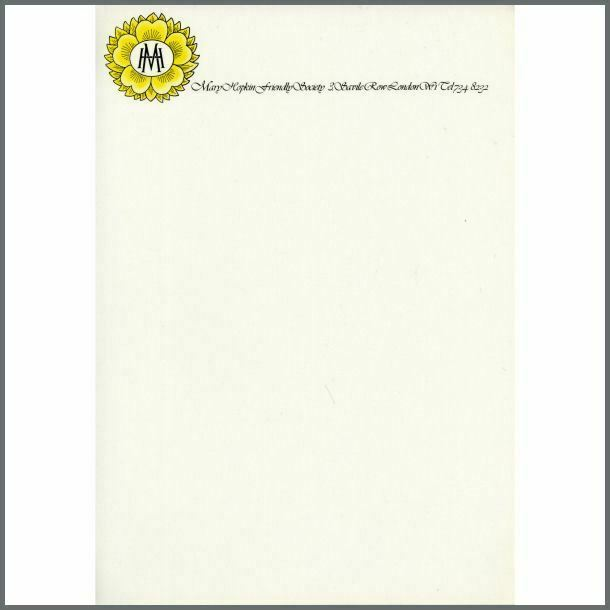 Mary Hopkin Friendly Society 3 Savile Row Headed Notepaper
