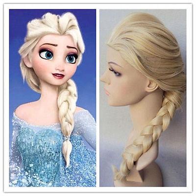 Frozen Prinzessin Elsa Gold Lang Haar Zopf Cosplay Kostüm Perücken Neu (Prinzessin Perücken)