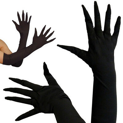 Black Long Finger Lycra Stretch Glove Elbow Superhero Costume Halloween XS-XL US - Long Fingered Gloves Halloween