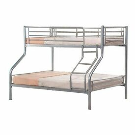 CLASSY LOOK Metal Trio Sleeper Bunk Bed With 2 Mattresses -- Cheapest Price -- Same Day