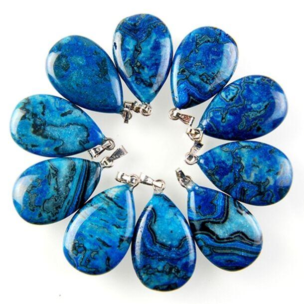 Wholesale 10pcs Blue Crazy Lace Agate Teardrop Pendant Bead 27x16x6mm H-BSD16