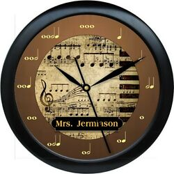 Personalized Music Notes Wall Clock Brown & Gold Musician Piano Teacher
