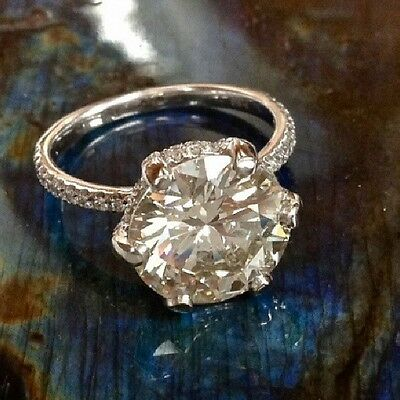 2.13Ct Round Cut Under Halo U-Prong Pave Diamond Engagement Ring - GIA CERTIFIED