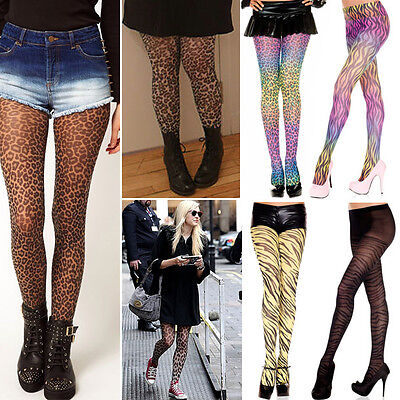 - Sheer Animal Print Full Stretch Tights Cat Costume LMFAO Raver Dance Pantyhose