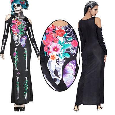 Floral Sugar Skull Skeleton Maxi Long Dress Bone Costume Cosplay Stretchy M-XL (Sugar Skull Skeleton Costume)