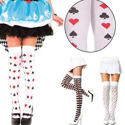 Poker Thigh High Striped Stockings Sexy Suits Diamond Hearts Spades Clubs New -