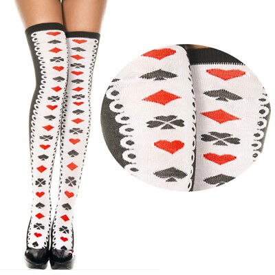 White/Black Lace Sides Playing Card Suits Vertical Striped Poker Thigh Highs -