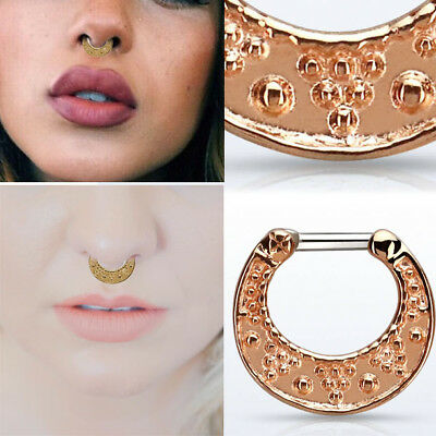 16G-14G Rose Gold Plating Vintage Dots Pattern Two Tone Septum Clicker Bull (14g Gold Plate)