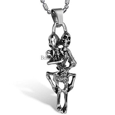 Fashion Skull Pendant Skeleton Stainless Steel Mens Necklace Halloween Gift Cool