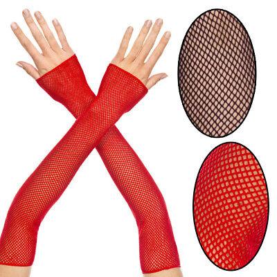 Fishnet Fingerless Elbow Length Gloves Arm Warmers Punk Goth Raver Costume OS US