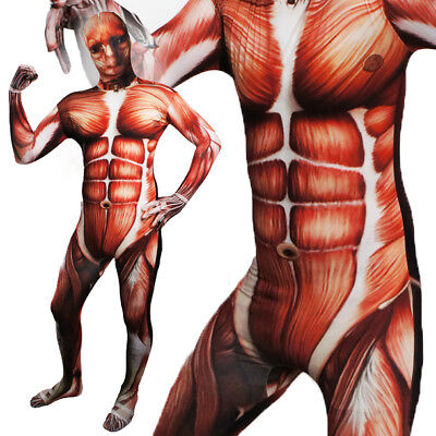 Full Body Spooky Muscles No Skin Lycra Zentai Suit Halloween Party Costume XXS-L](Muscle Skin Suit Halloween)