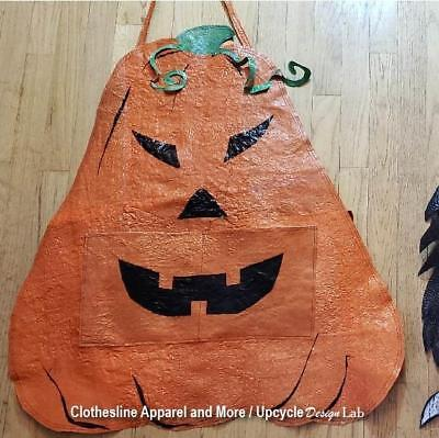 OOAK Orange Pumpkin Costume Apron Adult 100% Recycled Plastic Handmade Upcycled](Adults Pumpkin Costume)