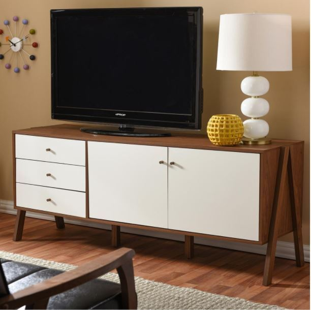 Harlow Mid-century Scandinavian White and Walnut Wood