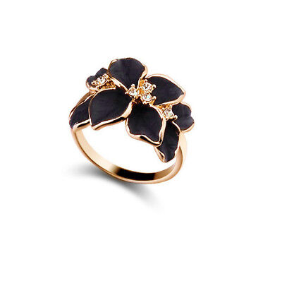 Women Fashion Enamel Flower Crystal Gold Alloy Nickel-Free Cute Ring Size 8