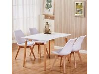 Dining Table and Chairs Set of 4 Modern Wood Style Dining Room Table Set in White