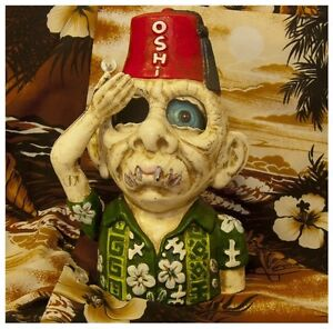 Money Box Bank Cast Iron Alfredo Tiki Zombie Retro Vintage Eyeball Coin Dollars
