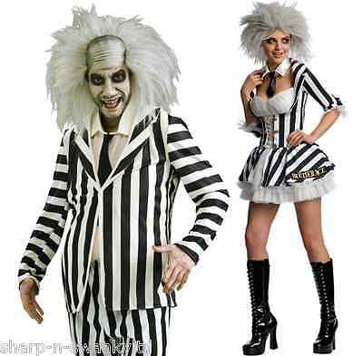Couples Mens & Ladies Fancy Dress Mr Miss Beetlejuice Halloween Costumes Outfits](Halloween Outfits Couples)
