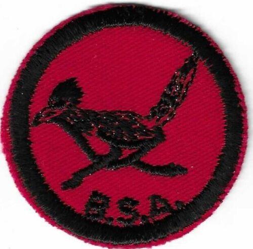 BSA MINT TWILL RED-BLACK PATROL MEDALLION PATCH CLEAR PLASTIC BACK ROADRUNNER