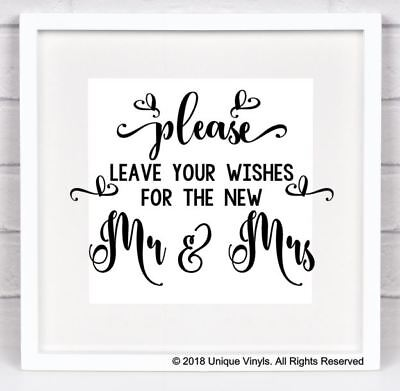Wedding Venue Decor - Vinyl Sticker, Please leave your wishes for the new - Decor For Wedding