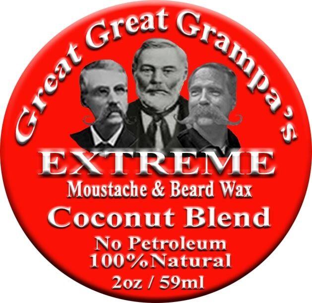 COCONUT- STIFF - Moustache & Beard Wax - 2oz - All Hair, Vit
