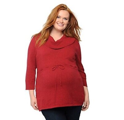 Oh Baby By Motherhood Maternity Plus Size 1X Cowl Neck Tunic Sweater Red NEW Plus Size Maternity Sweaters