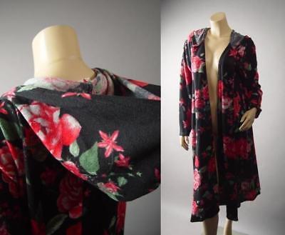 Black Hooded Hoodie Dark Floral Long Duster Cloak Jacket 286 mv Coat 1XL 2XL 3XL](Long Black Hooded Cloak)