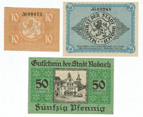 SET OF 3 GERMANY NOTGELD 10.25.50 PFENNIG STADT-RODACH 1920 UNC