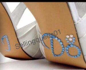 Light Blue Engagement Ring Bling Wedding I DO Shoe Sticker Rhinestone