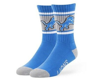 Detroit Lions Socks '47 Brand Duster Large Blue Men's 9-13 Women's 10-12 NWT New