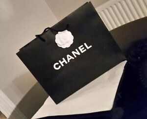 Chanel Black & White Gift Bag with Tissue paper & Camilla