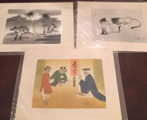 LOT OF 3 Vintage Vietnamese Ink Painting On Silk Signed - $5.00