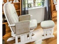 REDUCED - Tutti Bambini White Glider Rocking Chair and Stool