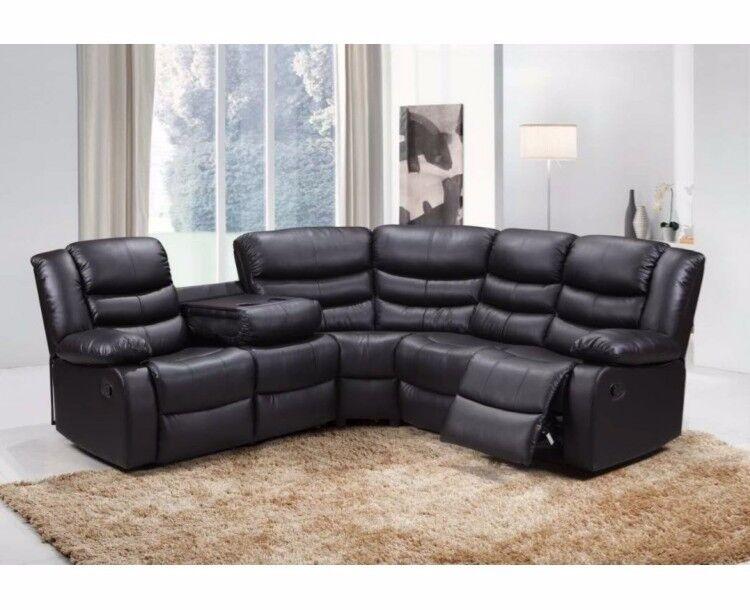 Corner Recliner Black Leather Sofa