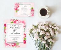 Pink Peonies Wedding Invitation Set