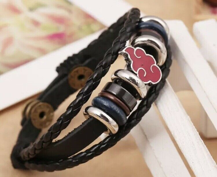 "Naruto Akatsuki Red Cloud Leather Bracelet 8"" Anime US Seller"