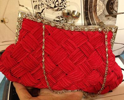 Red Evening Handbag Bridal Wedding Bags  Pleated satin  Prom Dresses Accessories