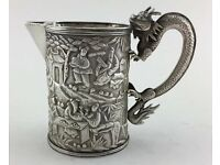 Rare 19thC Antique Chinese Export Silver Scene Dragon Tankard Mug Cup Beaker