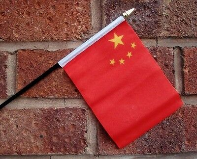 CHINA flag PACK OF TEN SMALL HAND WAVING FLAGS CHINESE BEIJING