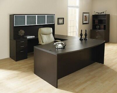 New Napa Espresso Bowfront U-shape Executive Office Desk Set With File Hutch